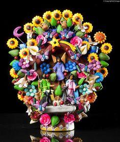 Nativity Hand Made Clay Tree OF Life Mexican Folk ART Christmas Sculpture TL5 | eBay