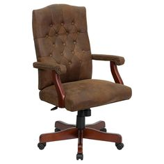 Offex Bomber Brown Classic Executive Office Chair [OF-802-BRN-GG]