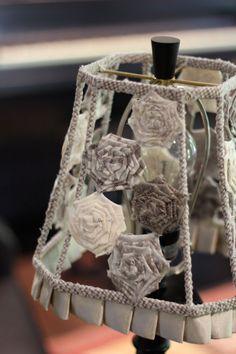 Handmade Gray Rose Shabby Chic Square Fabric by ArtfulMelange