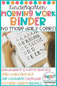 Kindergarten Morning Work Binder Is your morning routine chaotic? The Morning Work Binder is here to save your sanity! Just prep at the beginning of the year and you're set! Your students will practice skills year round using dry erase markers. Just erase Kindergarten Morning Work, Beginning Of Kindergarten, Morning Work For Preschool, Classroom Morning Routine, Interactive Notebooks Kindergarten, Kindergarten Classroom Management, Kindergarten Homeschool Curriculum, Curriculum Planning, Writing