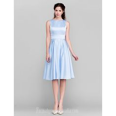 Short Knee-length Satin Bridesmaid Dress Sky Blue Plus Sizes Dresses Petite A-line Princess Bateau #blueformaldress Blue Plus Size Dresses, Petite Dresses, Dresses Uk, Blue Dresses, Dresses For Work, Buy Dress, Dress For You, Formal Dresses Australia, Dresser
