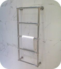 Design Ideas for a Small Bathroom Heated Towel Rail, New House Plans, Small Bathroom, Bathrooms, Chrome, New Homes, Bathroom Designs, Wall, How To Build