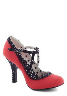 Smart and Snazzy Heel in Punch - Red, Black, White, Polka Dots, Trim, Pinup, Vintage Inspired, 50s, International Designer, Mid, Party, 40s, Variation