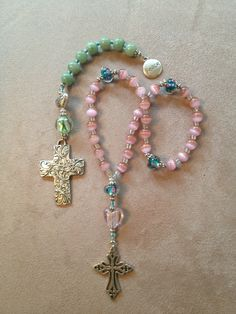 Handmade Christian prayer beads for a dear friend & sister-in-Christ. Christian Bracelets, Christian Jewelry, Rosary Beads, Prayer Beads, Gemstone Bracelets, Infinity Bracelets, Jewelry Making Tutorials, Beads And Wire, Beaded Jewelry