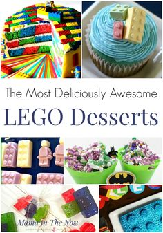 LEGO desserts for your next LEGO themed birthday party. Celebrate with these fun LEGO desserts, cakes and treats. Who doesn't want LEGO candy and a LEGO cake for their LEGO birthday? Dessert Party, Party Desserts, Lego Themed Party, Lego Birthday Party, Birthday Parties, Lego Parties, Cake Birthday, Birthday Ideas, Lego Ninjago Cake