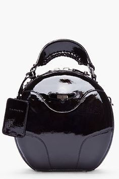 CARVEN Black Patent Leather Round Bag for women | SSENSE