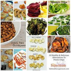 Ten Healthy And Delicious Alternatives To Potato Chips - The Healthy SuperMom Healthy Chips, Healthy Treats, Healthy Eating, Healthy Recipes, Savory Snacks, Spinach Chips, Veggie Chips, Potato Chips, Healthy Chip Alternative