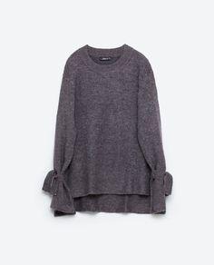 4b37ebb536e Image 8 of SWEATER WITH TIE DETAIL ON SLEEVE from Zara Grey Sweater