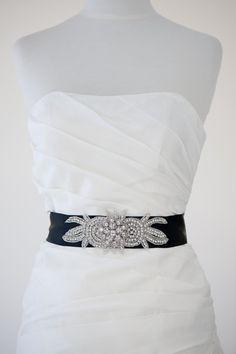 Bridal Gown Sash Wedding Gown Sash Black