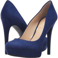 Jessica Simpson Baleenda (Deep Azul) High Heels ($45) ❤ liked on Polyvore featuring shoes, pumps, heels, blue, high heel platform shoes, slip on shoes, almond toe pumps, high heel shoes and blue pumps