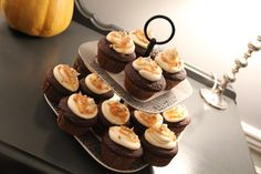 dark chocolate cupcakes with salted caramel butter cream frosting