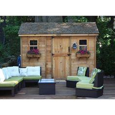 """Outdoor Living Today 144"""" Cabana with Dutch Door and Two Functional Windows with Screens"""