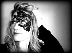 Gothic Noir Lace Mask - Black Lace Half Mask for Victorian / Edwardian / Macabre style costume ADHERES TO SKIN - no annoying strap via Etsy