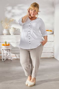 Maite Kelly, Mein Style, Curvy Fashion, Outfit, Outfits, Women, Stripes, Blouse, Summer