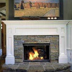 Stacked stone with traditional mantel facade