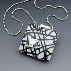 Brambles with bird  modern polymer pendant by StonehouseStudio