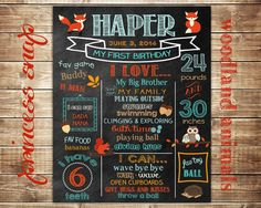 First Birthday Chalkboard - Woodland Animals - Poster Sign Birthday Parties Printable  - Baby's First Birthday - Boy or Girl