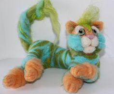 OOAK Hand Sculptured Needle Felted Cat by Niagara by KoolKrazyKats, $85.00