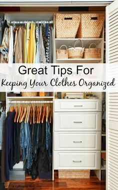 Closet organizing ideas! Getting ready in the morning is so much easier when your closets and dressers are neat and tidy. Great simple tips for keeping your clothes organized!