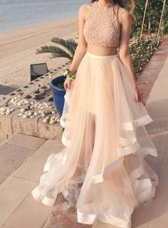 Champagne Two Pieces Sequin Tulle Long Prom Dress,
