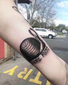 Snail Away Tattoo Arm Tattoos, Cool Tattoos, Snail Tattoo, Arms, Tatuajes, Arm, Coolest Tattoo, Arm Tattoo, Half Sleeves