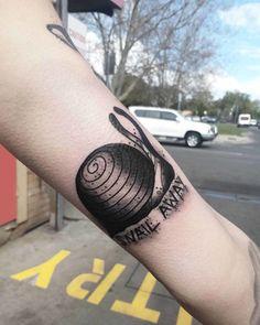 Snail Away Tattoo Arm Tattoos, Cool Tattoos, Snail Tattoo, Arms, Tattoos, God Tattoos, Arm Tattoo, Coolest Tattoo, Tattoo Sleeves