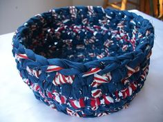 Ready for the 4th? Blue crocheted basket fabric red and white by ThePeacefulHeart, $18.00