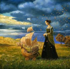 blessed wild apple girl by Michael Cheval.