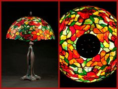 Wieniawa Piasecki lamp, inspired by L.C. Tiffany Banded Dogwood Lamp #tiffany #lamp www.e-witraze.pl #manmade #stainedglass #handcrafted #unique #metalware #louis #comfort #glass #flower #flowers #alamander #tablelamp www.e-witraze.pl #poland #design #art #light #vintage #retro