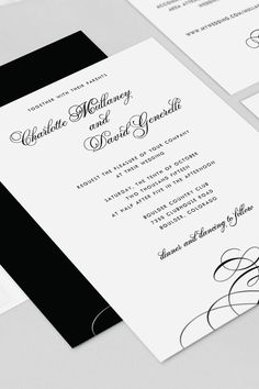This elegant wedding invitation featuring beautiful calligraphy script is perfect for any glamorous, vintage or traditional wedding. Shown in black and white but can be customized to any color.