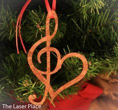 Laser Cut Wood Heart/Music Ornament; Laser Cut Music Ornament