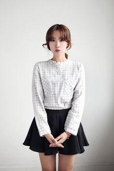 Korean fashion #skirt #A-line #blouse