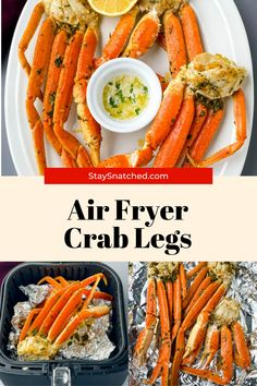 Making fried crab legs in the air fryer is so easy! This recipe uses snow crab and claws drizzled in butter, garlic, and lemon for epic flavor. Air Fry Recipes, Crab Recipes, Healthy Recipes, Hot Crab Dip, King Crab Legs, Meal Prep Guide, Air Fryer Healthy, Crab Cakes, Recipe Using