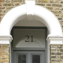 Custom Number Custom Text & Numbers & Frosted & Decorative Window Film from Brume Ltd Victorian Front Doors, Grey Front Doors, Victorian Terrace, Front Door Colors, Glass Front Door, Glass Door, Porch Doors, Windows And Doors, Traditional House Numbers