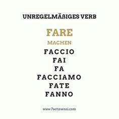 Italienische Verben: Das Verb fare=machen ist ein unregelmäßges Verb im Italienischen