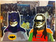 WILLIE AS BATMAN & ROBIN III -- 18 x 24in -- Mixed Media on Board -- CONTACT: annegenung@gmail.com