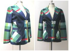 Vintage 1970s Green and Navy Plaid Blazer by EcologieLoveVintage, $19.99