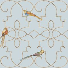 Ironwork with Birds from The Chelsea Lane Collection by Jaima Brown Home Bird Wallpaper, Pattern Wallpaper, Main Colors, Colours, Designers Guild, Pattern Books, Jaipur, Nye