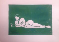 Linolschnitt, DIN A4, grün auf rosa