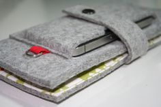 Grey wallet: iphone, cards, money w/ fob
