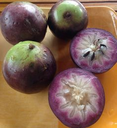 """""""Kaimito"""" in Tagalog, star apple in English, fruit in the Philippines Exotic Fruit, Tropical Fruits, Fruit Flowers, Fruit Trees, Zamboanga City, Weird Fruit, Star Apple, Trini Food, Fruit Creations"""