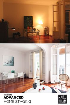 This roomed was staged during daylight which really helped. The after picture also has newer, more modern furniture. There also appears to be less junk in the second picture. Home Staging, Barcelona, Modern Furniture, Two By Two, Space, Room, Home Decor, Flats, Floor Space
