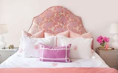 Caitlin Wilson Design: Girly pink bedroom with arched headboard - for girls bedroom DIY the headboard! Caitlin Wilson Design, Headboard Designs, Headboard Ideas, Headboard Makeover, Ikea Headboard, Pink Headboard, Custom Headboard, Pink Room, Headboards For Beds