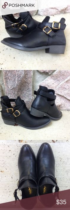 Mossimo Black Ankle Boots Mossimo ankle boots black with gold buckles. Man made materials. Worn once! Mossimo Supply Co Shoes Ankle Boots & Booties