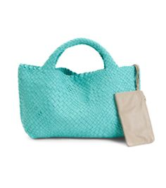 2f42e9b97293 Details about Falor New Women's Made In Italy Woven Leather Tote Turquoise  Free Shipping NWT