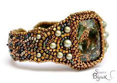 """Bracelet Brodé Séraphinite Copper Vert Bronze """" Ivana """" : Bracelet par source-aux-bijoux"""