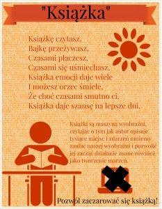 Dziś mnie natchnęło :) Na blogu Szkoły z klasą 2.0 dokładnie przeczytałam warunki do kolejnej odznaki i zrobiłam! Jestem zadowolona z efektu mojej pracy i mam nadzieję, że wy też będziecie. :) Wierszyk wymyśliłam sama i ten tekst poniżej też. :) Plakat zrobiłam w programie Easely. Enjoy! Projects To Try, Polish, Reading, Therapy, Vitreous Enamel, Reading Books, Nail, Nail Polish, Nail Polish Colors