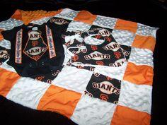 Baby Boy Giants Onesie Tie Suspenders Bib Burp Cloth by sososophie