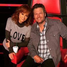 """Reba with Blake Shelton on """"The Voice"""" April 13, 2015."""