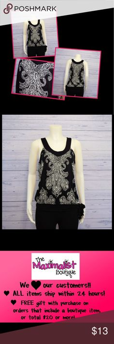 """Black & White Sleeveless Top Gorgeous black v-neck sleeveless top with white damask pattern. Breezy fit with bottom band and tie on lower left side. Like new. Size M. B 38"""", L 26"""". Apt. 9 Tops"""